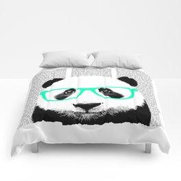 Panda with teal glasses Comforters