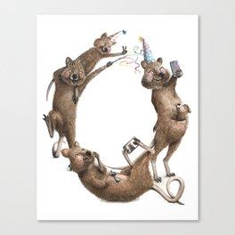 Q is for Quokkas! Laugh-A-Bit Alphabet Watercolor Animal Series by BirdsFlyOver Canvas Print