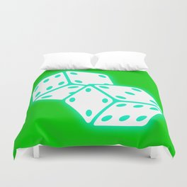 Two game dices neon light design Duvet Cover