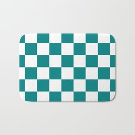 Checkered - White and Dark Cyan Bath Mat