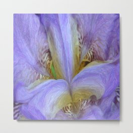 Purple Iris in Pencil Sketch 0174 Metal Print