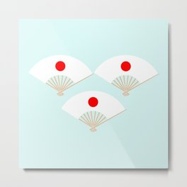 Japan Flag On Japanese Fan Metal Print
