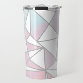 Modern white pink teal watercolor geometrical shapes Travel Mug