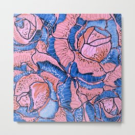 Blush Blue Roses Flowers Abstract Illustration Metal Print