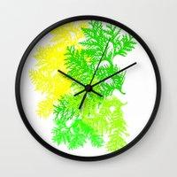 fern Wall Clocks featuring Fern by Sreetama Ray