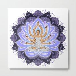 Violet Mandala Woman with Lotus Arms Metal Print