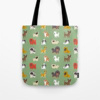 asian Tote Bags featuring ASIAN DOGS by DoggieDrawings