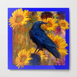DECORATIVE AWESOME CROW SUNFLOWERS GARDEN ART Metal Print