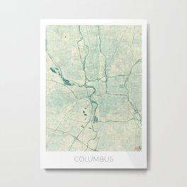 Columbus Map Blue Vintage Metal Print