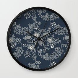 Straight Laced | Vintage Floral Lace Pattern | Navy & Cream Wall Clock