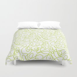 Doodle Line Art | Bright Lime Green Lines on White Duvet Cover