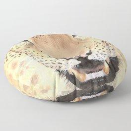 Leopard Portrait, Watercolour art Floor Pillow