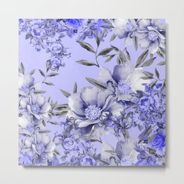 Periwinkle and Gray Floral Metal Print