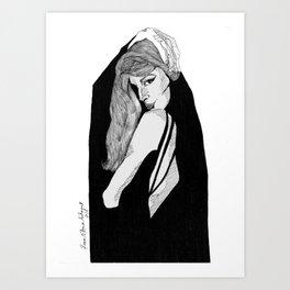 A Girl Walks Alone In The Dark Art Print