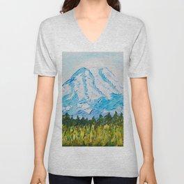 Mt. Rainier Washington Unisex V-Neck