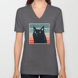 Black Cat Retro design Unisex V-Neck