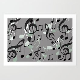 Flying Music Notes grey and white Art Print