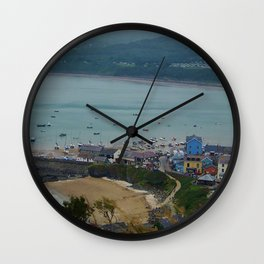Looking down on New Quay (Wales) Wall Clock