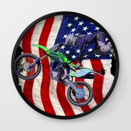 High Flying Freestyle Motocross Rider & US Flag Wall Clock