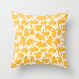 Yellow Cats Pattern Throw Pillow