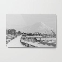 Seattle in White Metal Print
