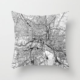 Vintage Map of Richmond Virginia (1934) BW Throw Pillow