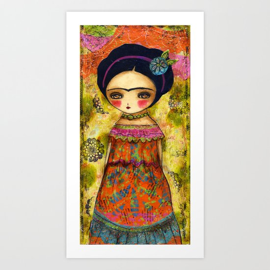 Frida In An Orange And Pink Dress Art Print