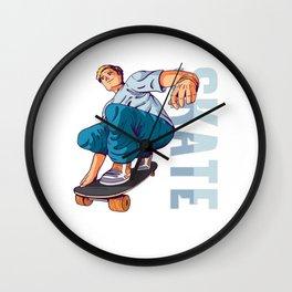 Skater Skate Skateboard Skateboarding Gift Wall Clock