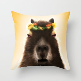 Capybara Shining Throw Pillow
