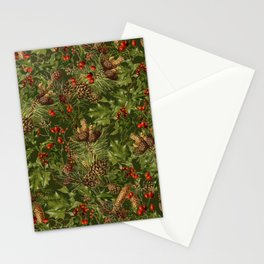 Traditional Holly Christmas Pattern Stationery Cards