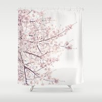 cherry blossom Shower Curtains featuring cherry blossom by Neon Wildlife
