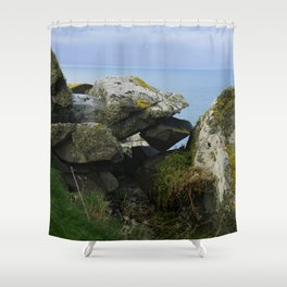 Lichen Covered Rocks in Front of the Blue Horizon Shower Curtain
