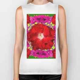 Tropical Red Hibiscus & Fuchsia Florals Green Color Biker Tank