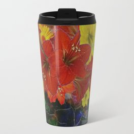 GRUNGY ANTIQUE RED FLORAL STILL LIFE Travel Mug