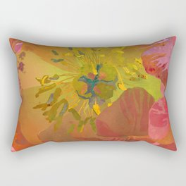 Coral Peony Flower Art #1   Watercolor Floral Illustration Rectangular Pillow