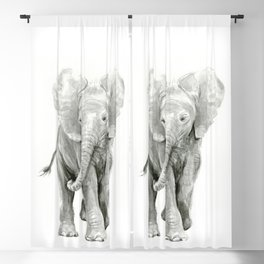 Baby Elephant Watercolor Blackout Curtain