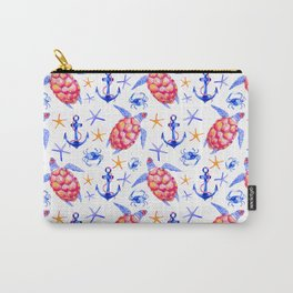 Pink violet watercolor hand painted nautical anchor turtles pattern Carry-All Pouch