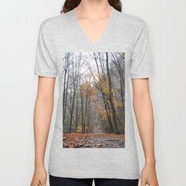 Art Listing - River Walk on a Foggy Autumn Day Unisex V-Neck