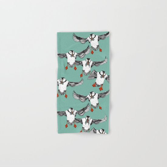 Atlantic Puffins mint Hand & Bath Towel