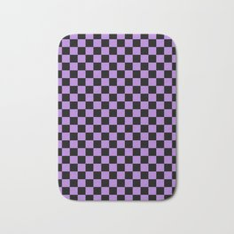 Black and Lavender Violet Checkerboard Bath Mat