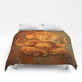 Lord Ganesh On a Distress Stone Background Comforters