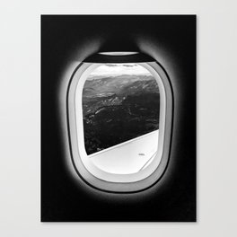 Window Seat // Scenic Mountain View from Airplane Wing // Snowcapped Landscape Photography Canvas Print
