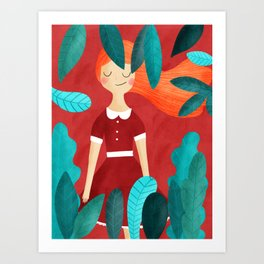 Orange hair girl Art Print