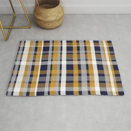 Modern Retro Plaid in Mustard Yellow, White, Navy Blue, and Grey Rug