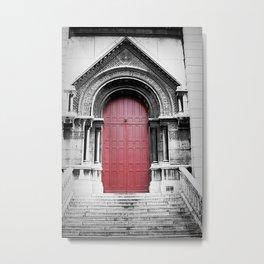 A red door in Paris. Metal Print