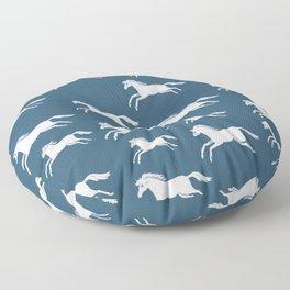 White horses on blue Floor Pillow