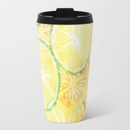 Juicy oranges. Watercolor textured pattern. Travel Mug
