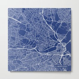 Cambridge Map, USA - Blue Metal Print