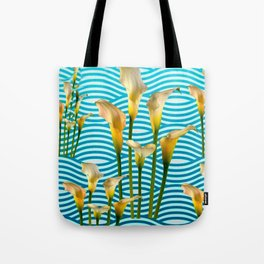 Calla Lilies  Blue Rippling Water Graphic Art Tote Bag