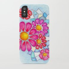 Raspberry Daisies and Icy Blue Crystals iPhone X Slim Case